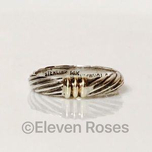 David Yurman Jewelry - David Yurman Sterling & 14k Gold Cable Band Ring