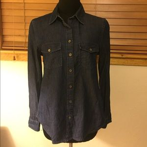 Banana Republic Soft Wash Dark Denim Button Up - S