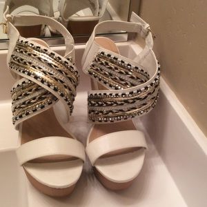 just fab  Shoes - Just fab white  sandals size 10  wedge. Heel