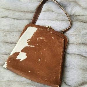Handbags - Vintage Cow Hair Small Handbag Brown & White