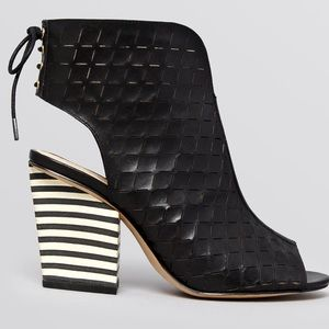 House of Harlow 1960 Shoes - House of Harlow 1960 Riley Pee Toe Striped Booties