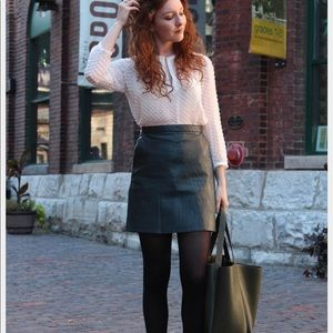 Zara faux leather A-line skirt NWOT