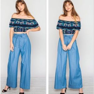Flying Tomato Pants - ✨{JEALOUS TOMATO}💫HIGH WAIST DENIM PANTS WITH TIE