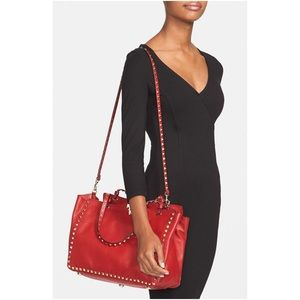 Valentino Handbags - Valentino medium rockstud red leather tote
