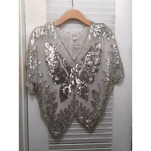 Vintage Tops - Vintage butterfly sequin beaded silk blouse top XS