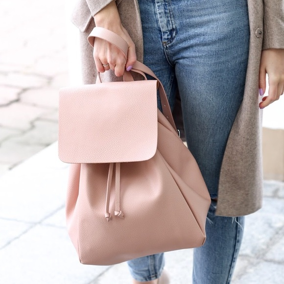 954ba18488 Zara Pink Leather Backpack With Foldover Flap. M_59096934bcd4a7a91b0173c9