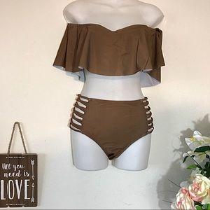 Other - NEW Ruffle Top Off Shoulder High Waisted Bikini
