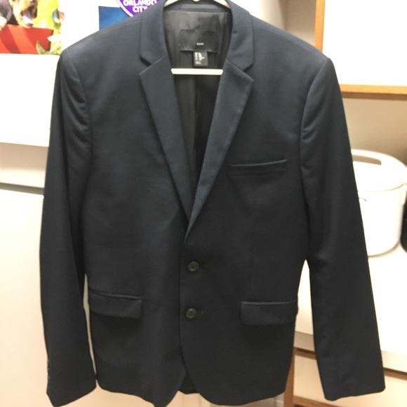H/&M Mens  Navy Blue Blazer Slim Fit Jacket Sports Coat Suit  Sz 38R
