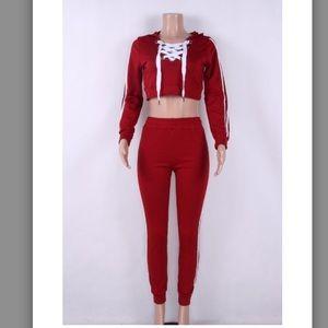 Tops - ❤️ Lace-up Crop Hoodie Sweatsuit❤️