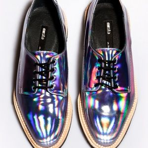 Miista Shoes - Miista Zoe Leather Oil Slick Holographic Oxfords