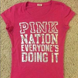 💗 Victorias Secret Pink Nation Silver Foil shirt