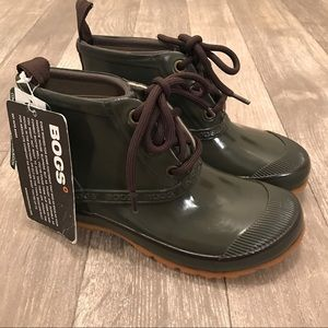 Bogs Shoes - BOGS Charlot Green Lace-Up Ankle Rain Boot Bootie