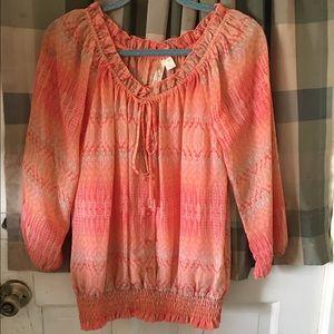 Adiva Tops - Beautiful printed peasant blouse - size medium
