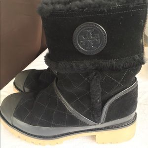 Tory Burch Shoes - Tory Burch Boughton Shearling Bootie Black Size 5M
