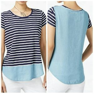 Maison Jules Tops - Chambray and striped t shirt. Medium. 100 % cotton