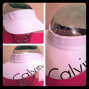 Calvin Klein Accessories - Calvin Klein White Pique Reversible Visor