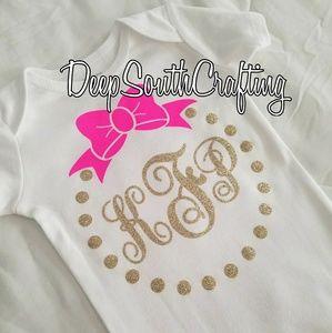 465d8727b One Pieces | Baby Girl Onesie Pink Gold Glitter Monogram Bow | Poshmark