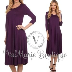 SALE SUPER SOFT DEEP PURPLE MIDI DRESS