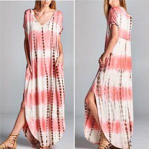 🖤LAST🖤 Oversized Boho Maxi Dress Tie Dye Pink