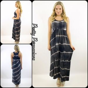 Pretty Persuasions Dresses & Skirts - NWT Charcoal Gray Tie-Dyed Maxi Dress
