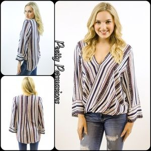 NWT Striped Surplice Bell Sleeve Blouse
