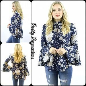 NWT Black Floral Bell Sleeve Blouse