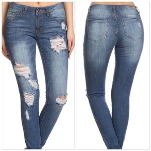Denim - 🆕Blue Mid Factory Ripped Thigh & Knee Skinny Jean