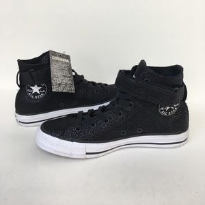 New leather Black Pearl High Top Converse