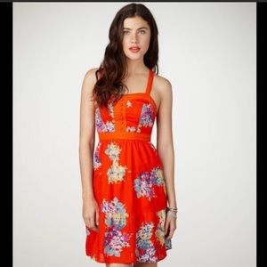 AEO Orange floral corset dress with buttons