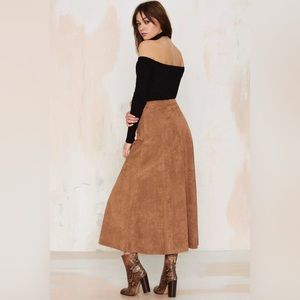 Vegan Suede Maxi Skirt