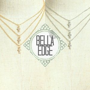 Bella Edge  Jewelry - Three chain tiered cross cascade necklace
