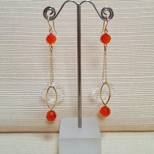 Orange and Gold Stiletto Earrings