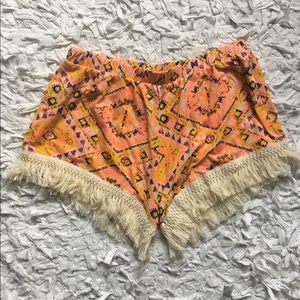 poof couture Pants - Poof Couture Geometric Multi-Color Fringe Shorts