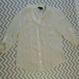 new directions Tops - New directions sheer button down shirt petite