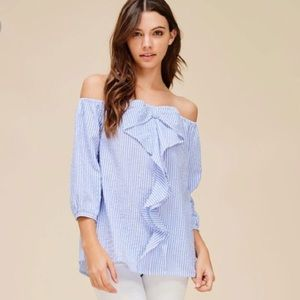 Tops - Off Shoulder Striped Bow Top