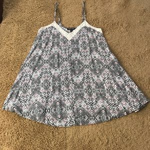 about a girl Tops - Geometric Lace Long Tank Top