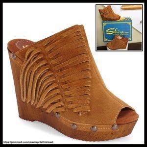 Sbicca Shoes - ❗️1-HOUR SALE❗️SBICCA SUEDE WEDGES Fringe Mule