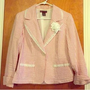 Hot kiss large seersucker rosette jacket