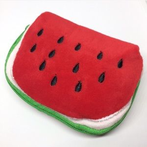 🍉 Watermelon Plush Coin Purse Makeup Travel Bag