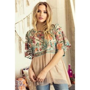 Embroidered floral babydoll top