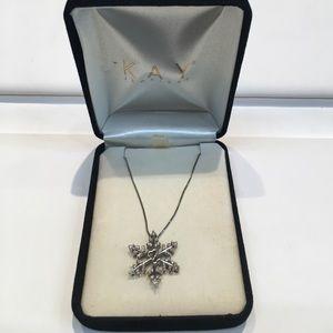 Kay's open heart diamond snowflake necklace
