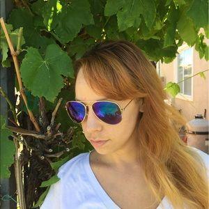 Purple blue and green aviator sunglasses