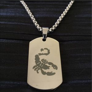 Men's Stainless Steel Scorpion 🦂 Dog Tag Necklace