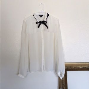 Jason Wu for Target Tops - NWT Sheer White Blouse with Black Bow Tie