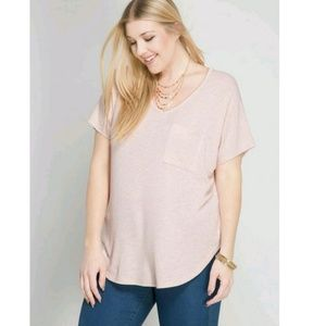 She and Sky Tops - She and Sky Plus size top with pocket detail.