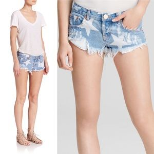 ONE TEASPOON Blue Bonita Cut Star Shorts 27