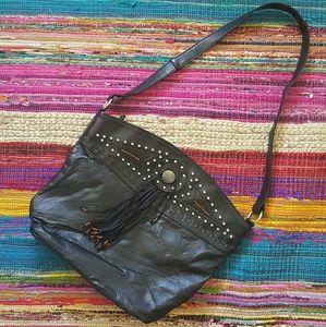 Vintage BLACK Fringe beaded leather shoulder bag