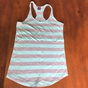 Mint Green and Gray Striped Tank