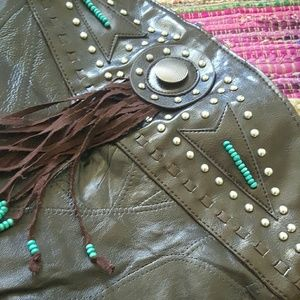 Vintage BROWN Fringe beaded leather shoulder bag
