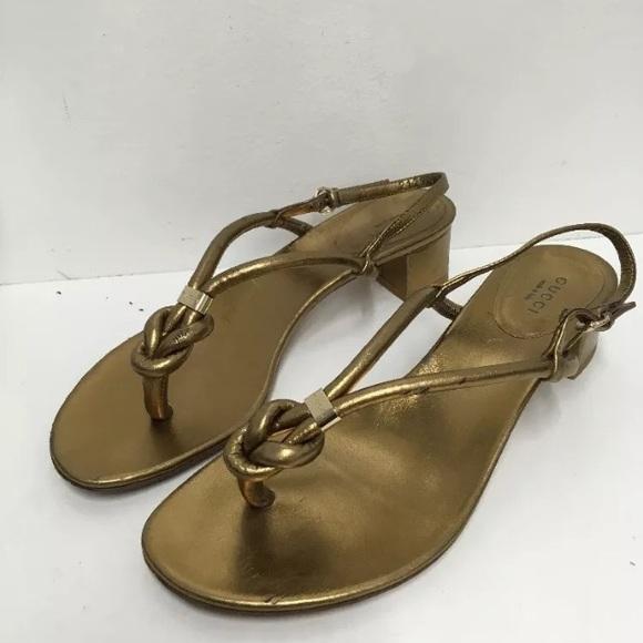 c7859489c4bbf7 Gucci Shoes - Gucci Gold Block Heel Knot Thong Sandal 38 7.5